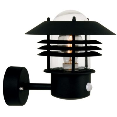 Vejers Black Outdoor Wall Light With PIR