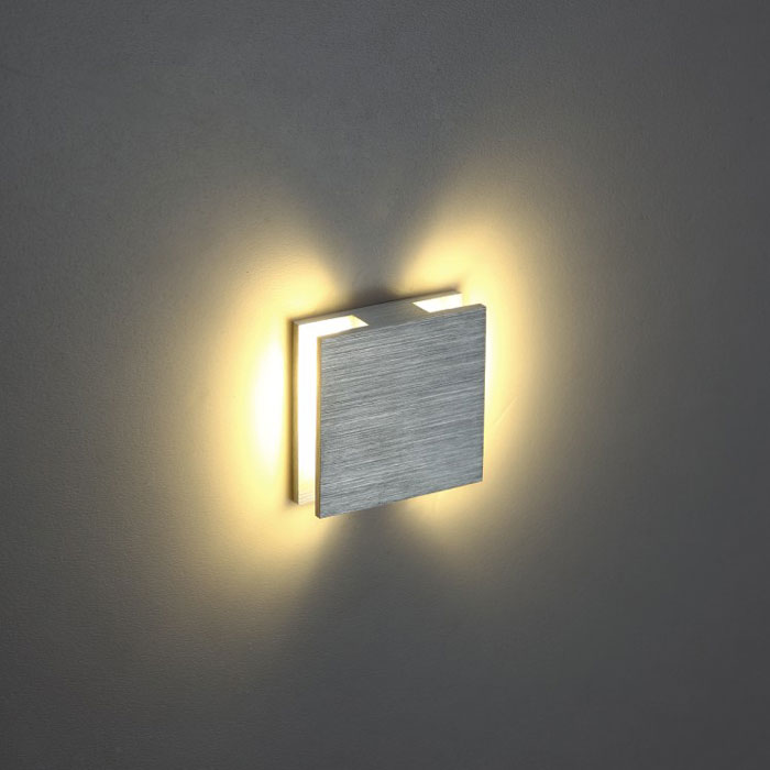 Halo square led wall light 1 watt brushed aluminium finish wall lights halo square interior led wall light mozeypictures Images