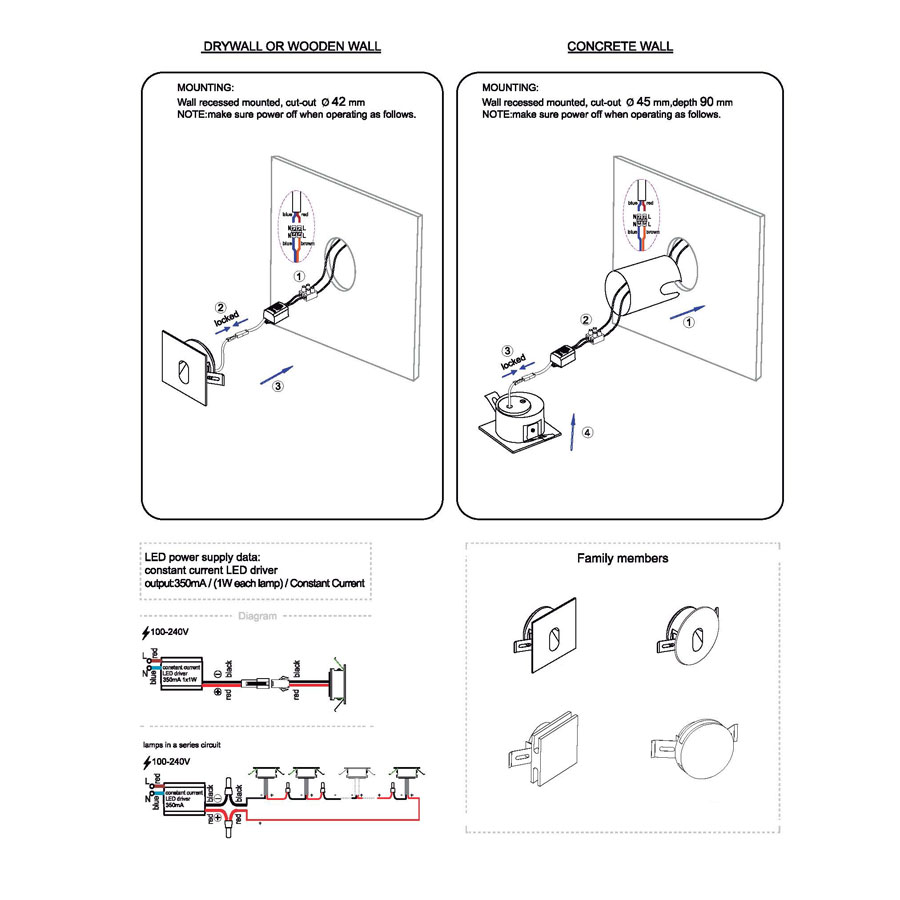 LSL001-LSL002 recessed led step light installation guide