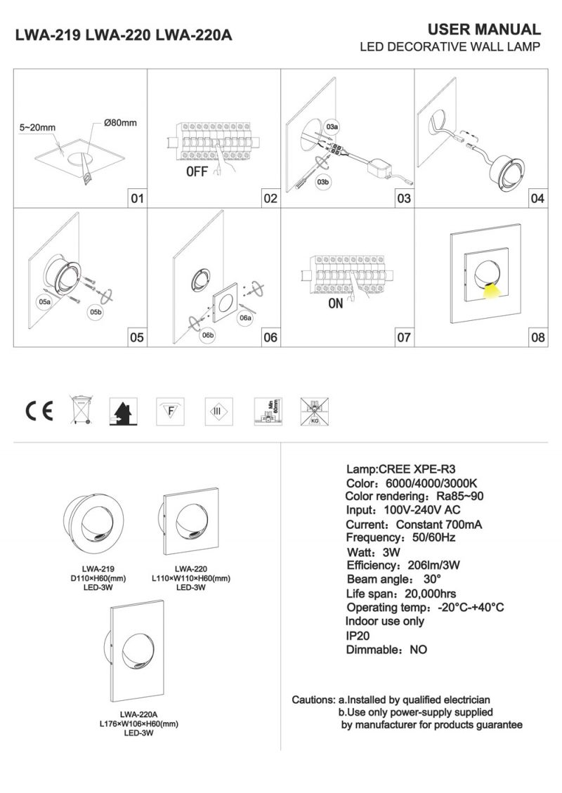 LWA219-LWA220 Recessed LED reading light installation guide
