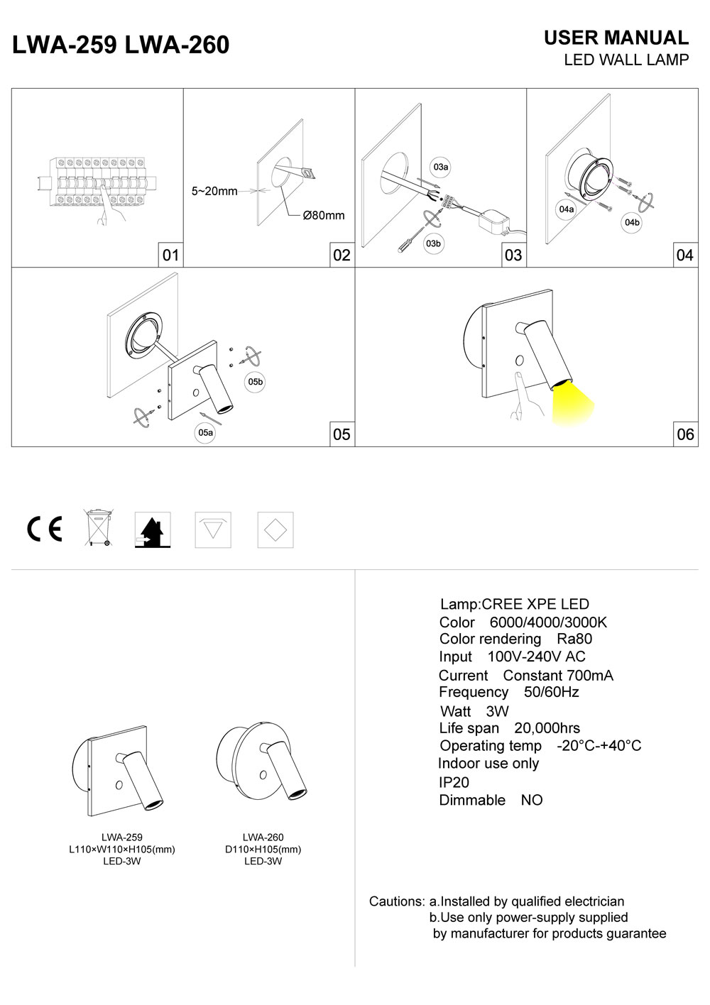 LWA260 LED reading light installation guide