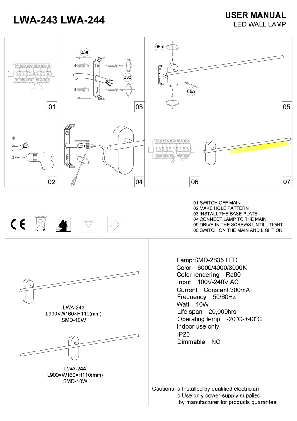 LWA-243-LWA-244 Interior LED wall light installation guide