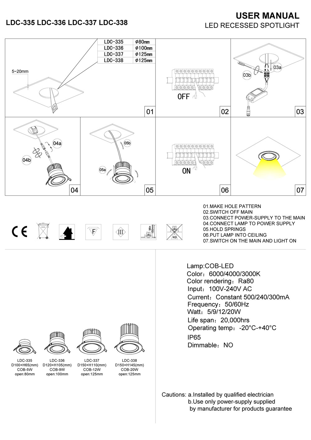 LDC-335-LDC-336-LDC-337 IP65 LED downlight installation guide