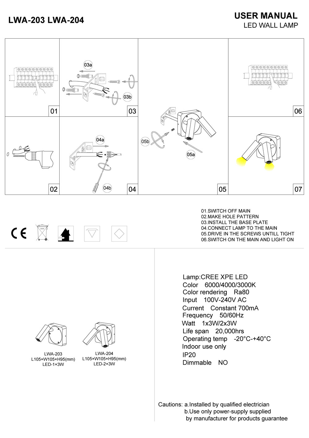 LWA203-204 LED reading light installation guide