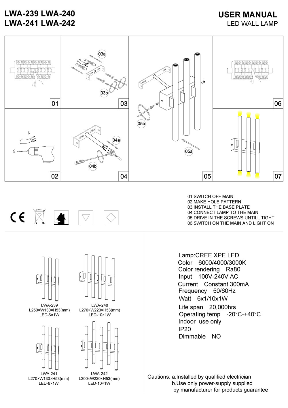 LWA241 interior LED wall light installation guide