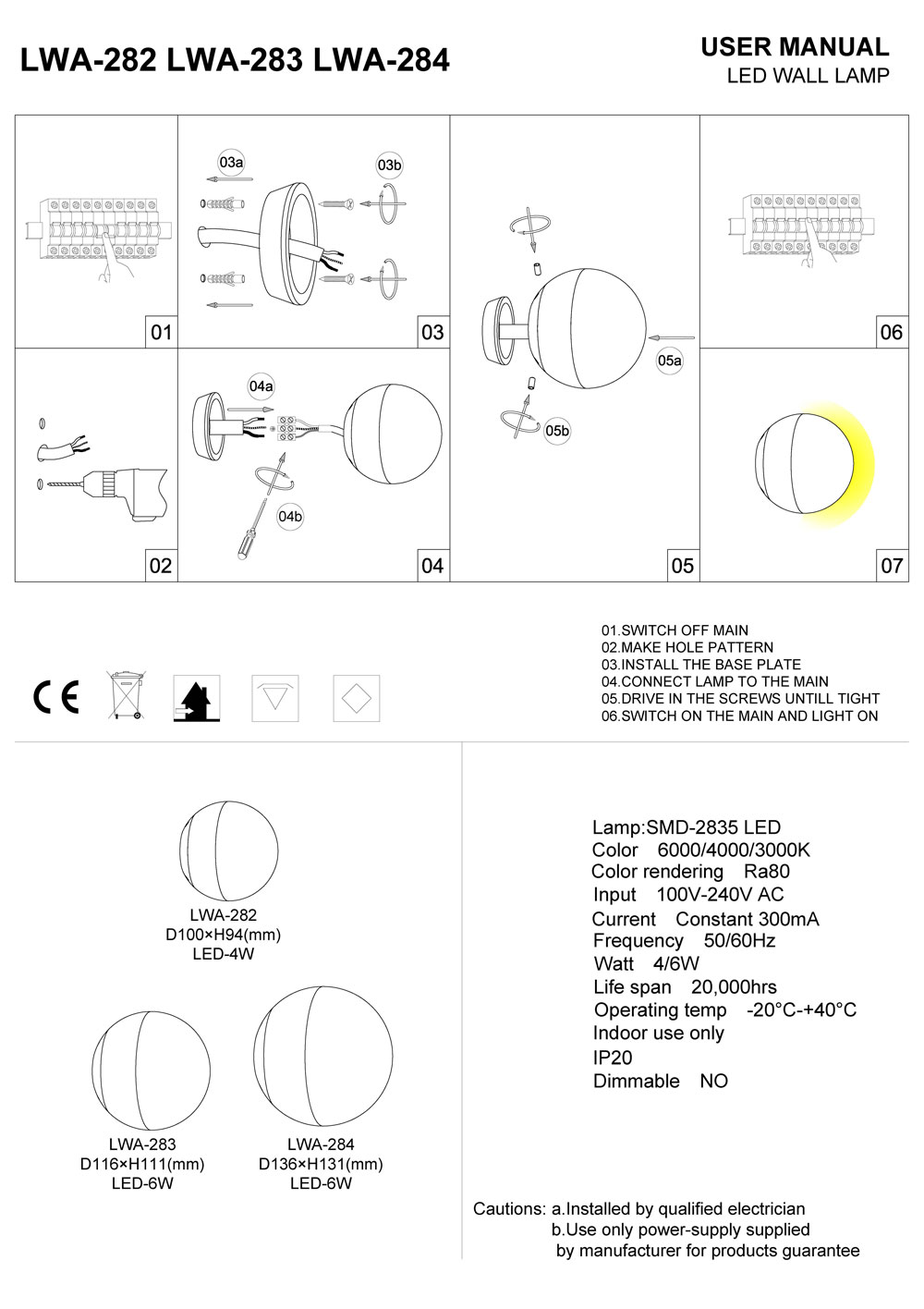 LWA284 LED wall light installation guide