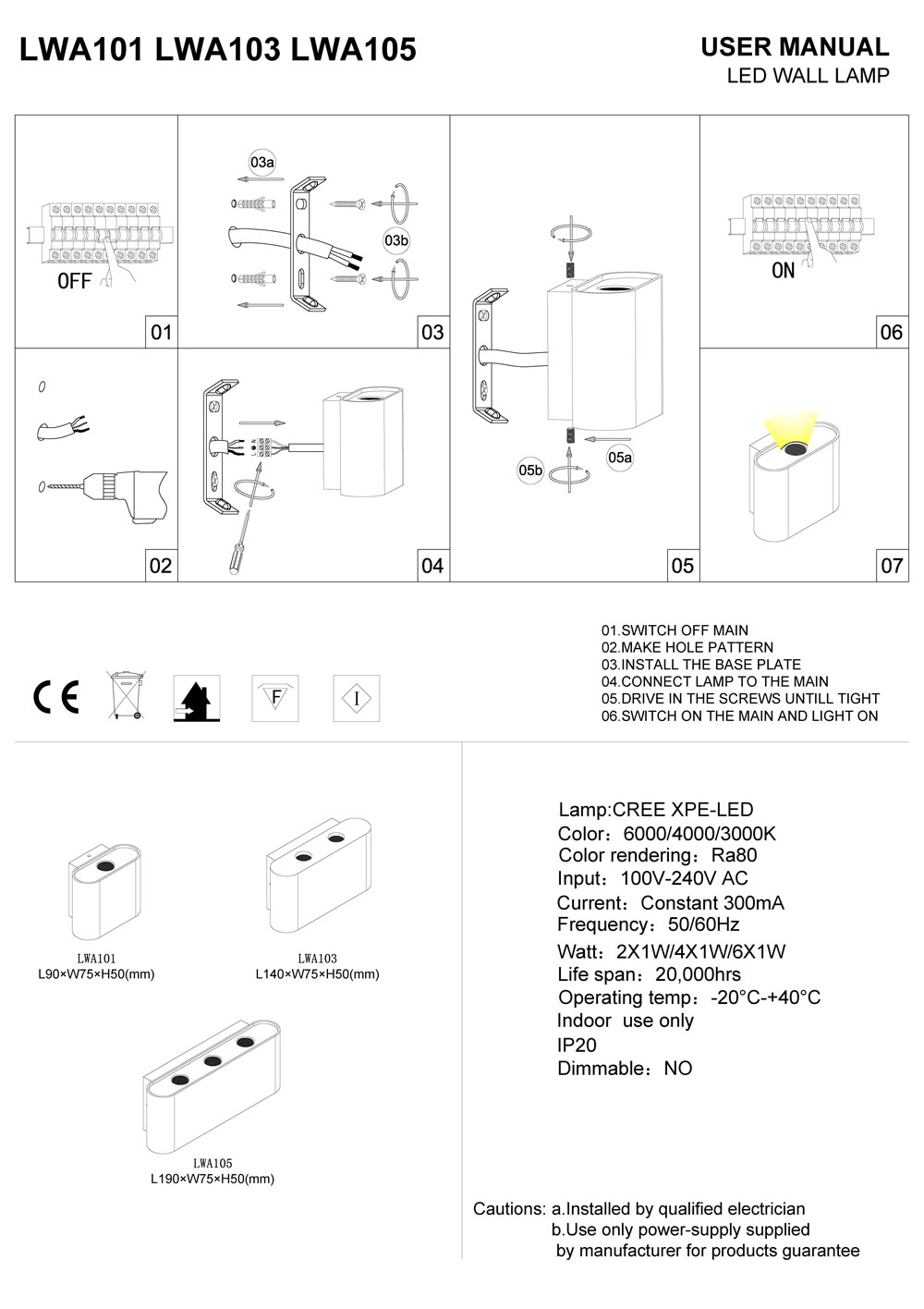 LWA101-LWA103-LWA105 interior LED wall lighting installation guide