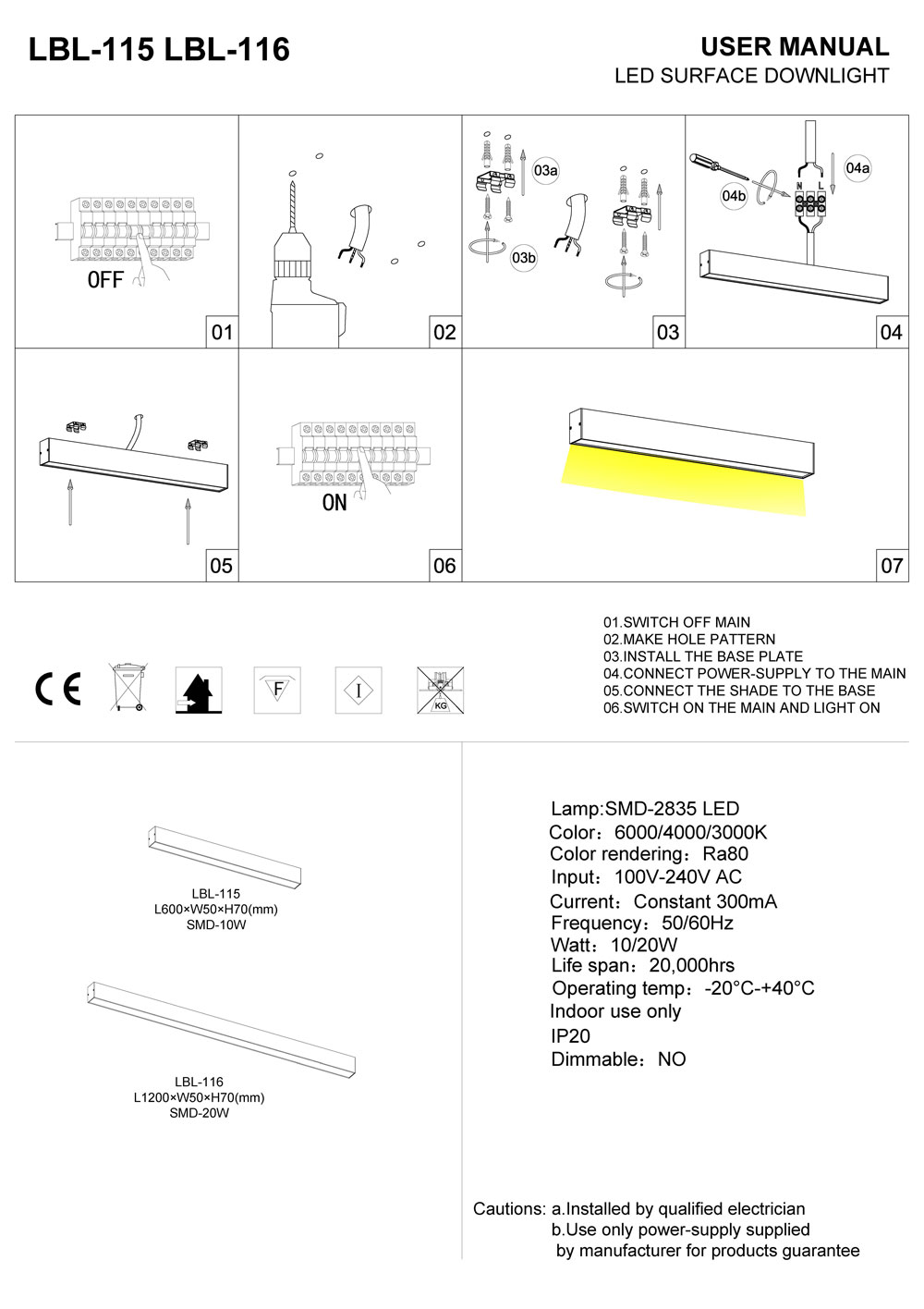 LBL-115-LBL-116 Linear surface mounted LED downlight installation guide