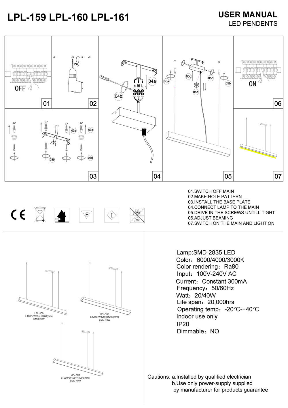 LPL-159-LPL-160-LPL-161 LED pendant light installation guide