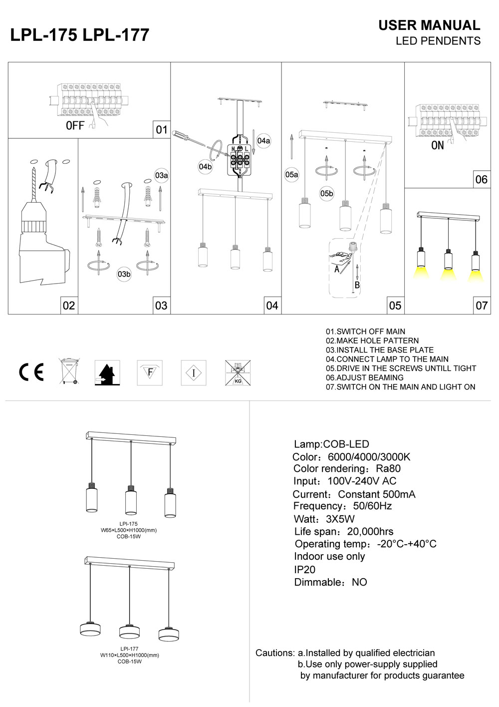 LPL-175-LPL- LED pendant light installation guide