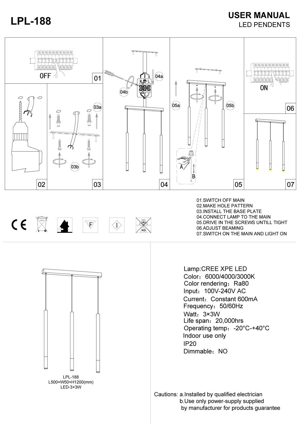 LED pendant light installation instructions