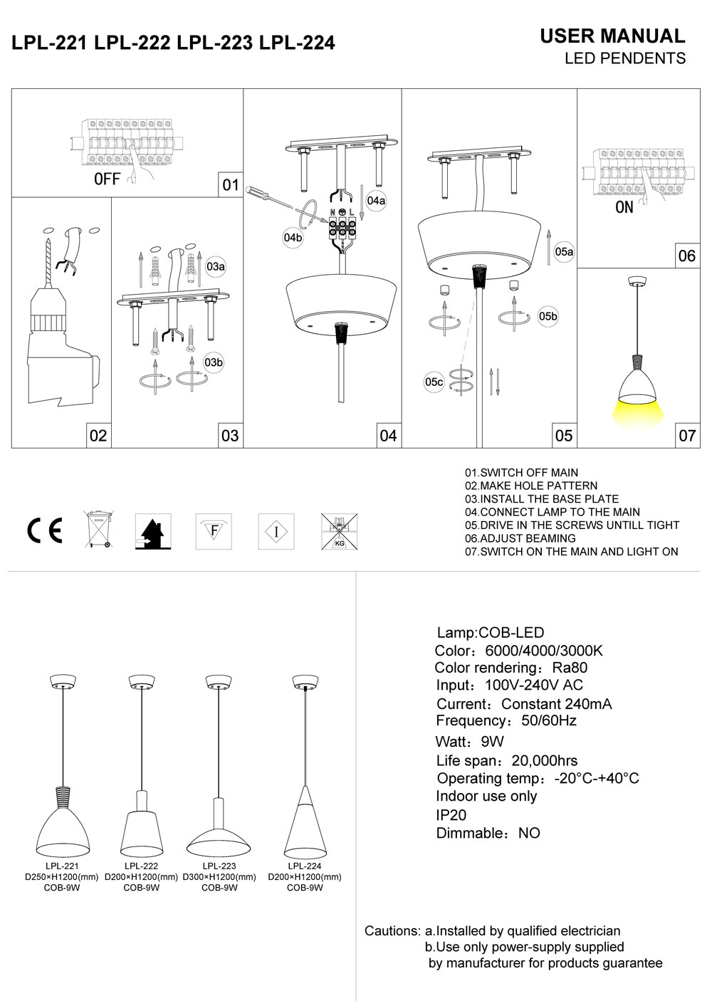 LED pendant light INSTALLATION INSTRUCTIONS