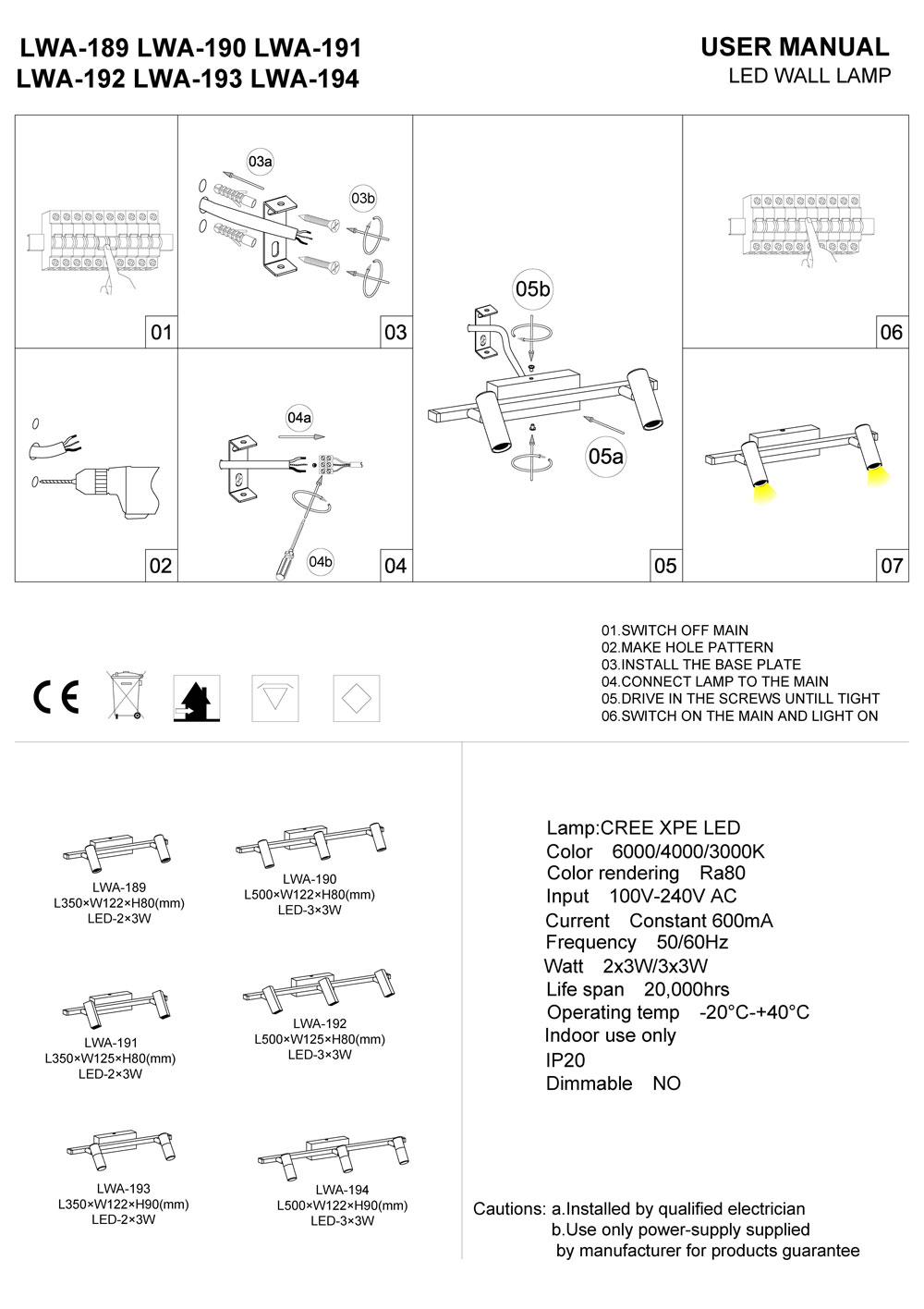 LWA-189-LWA-190-LWA-191 LED mirror light