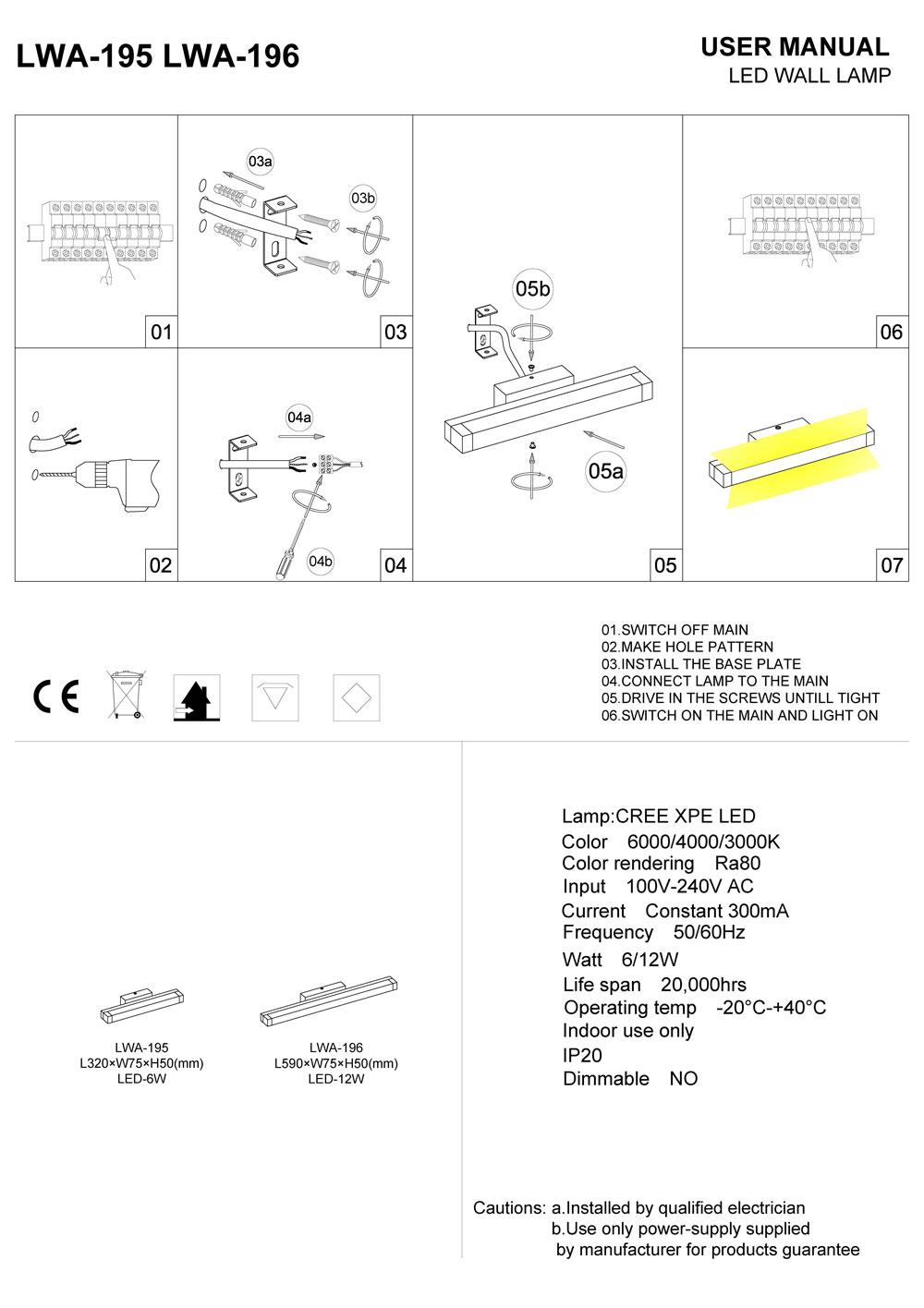 LWA-195-LWA-196 LED over mirror light