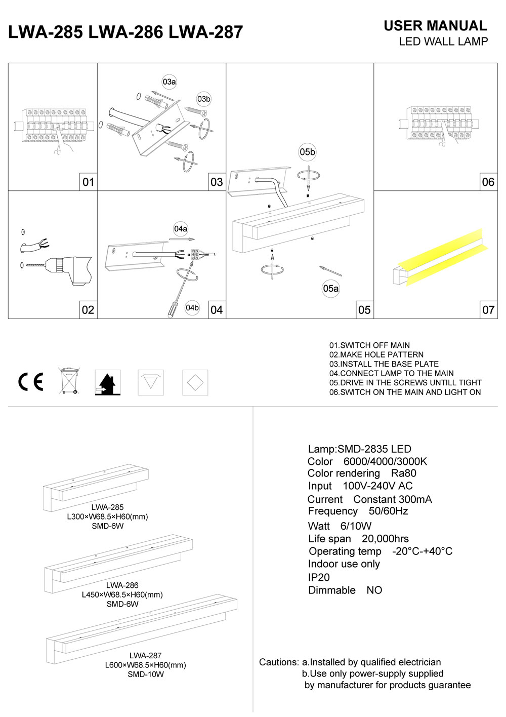 LWA-285-LWA-286-LWA-287 LED mirror light installation guide