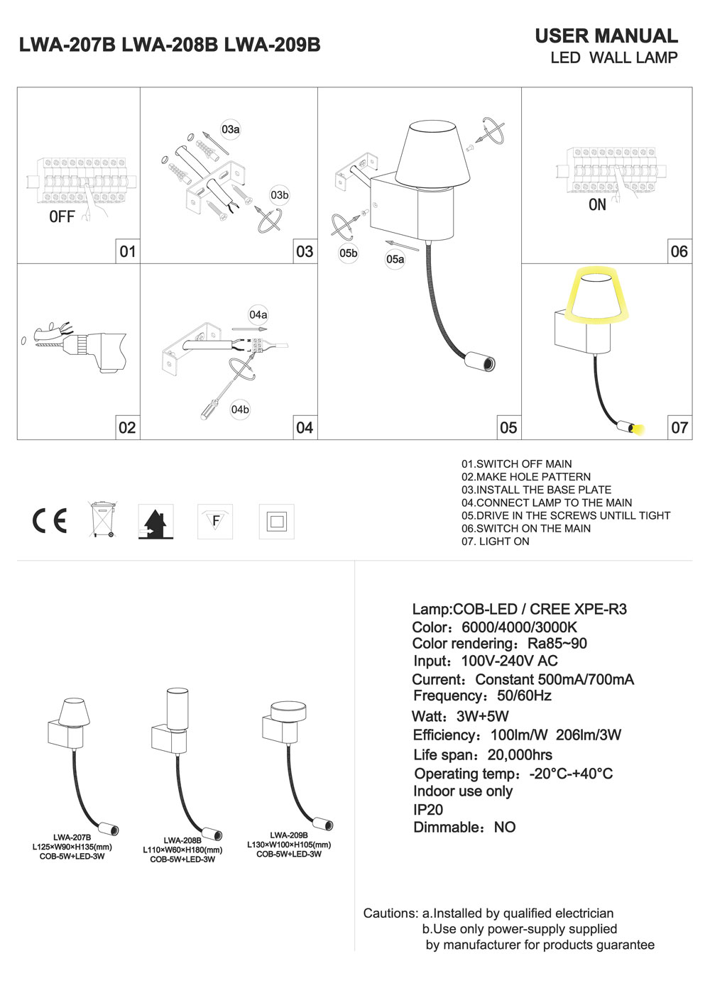 LWA207B-LWA208B-LWA209B LED reading light installation guide
