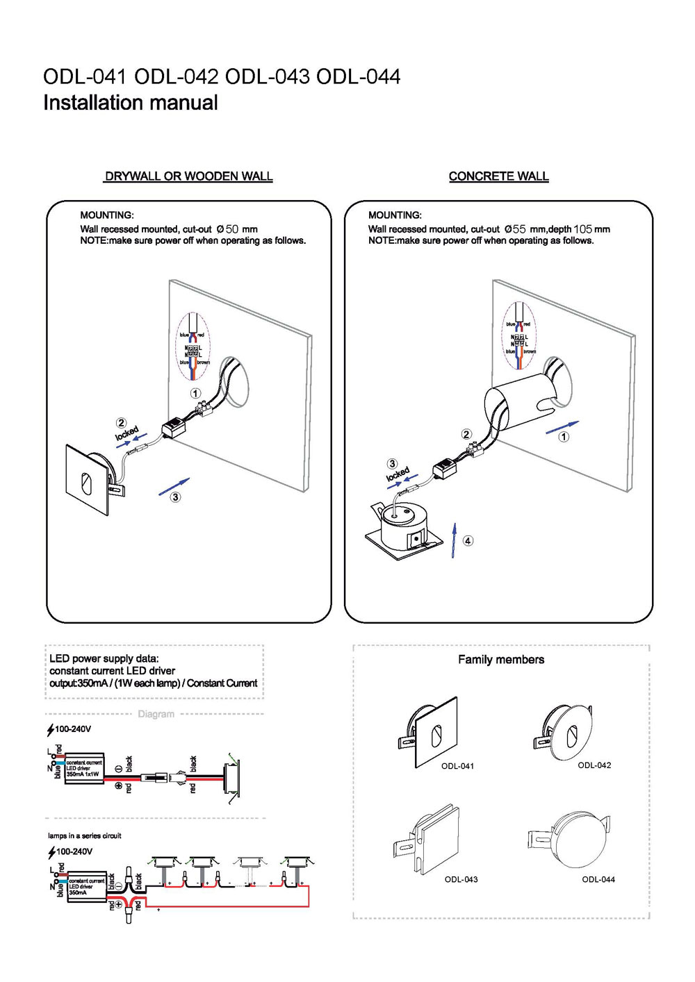 ODL041 outdoor wall light installation guide
