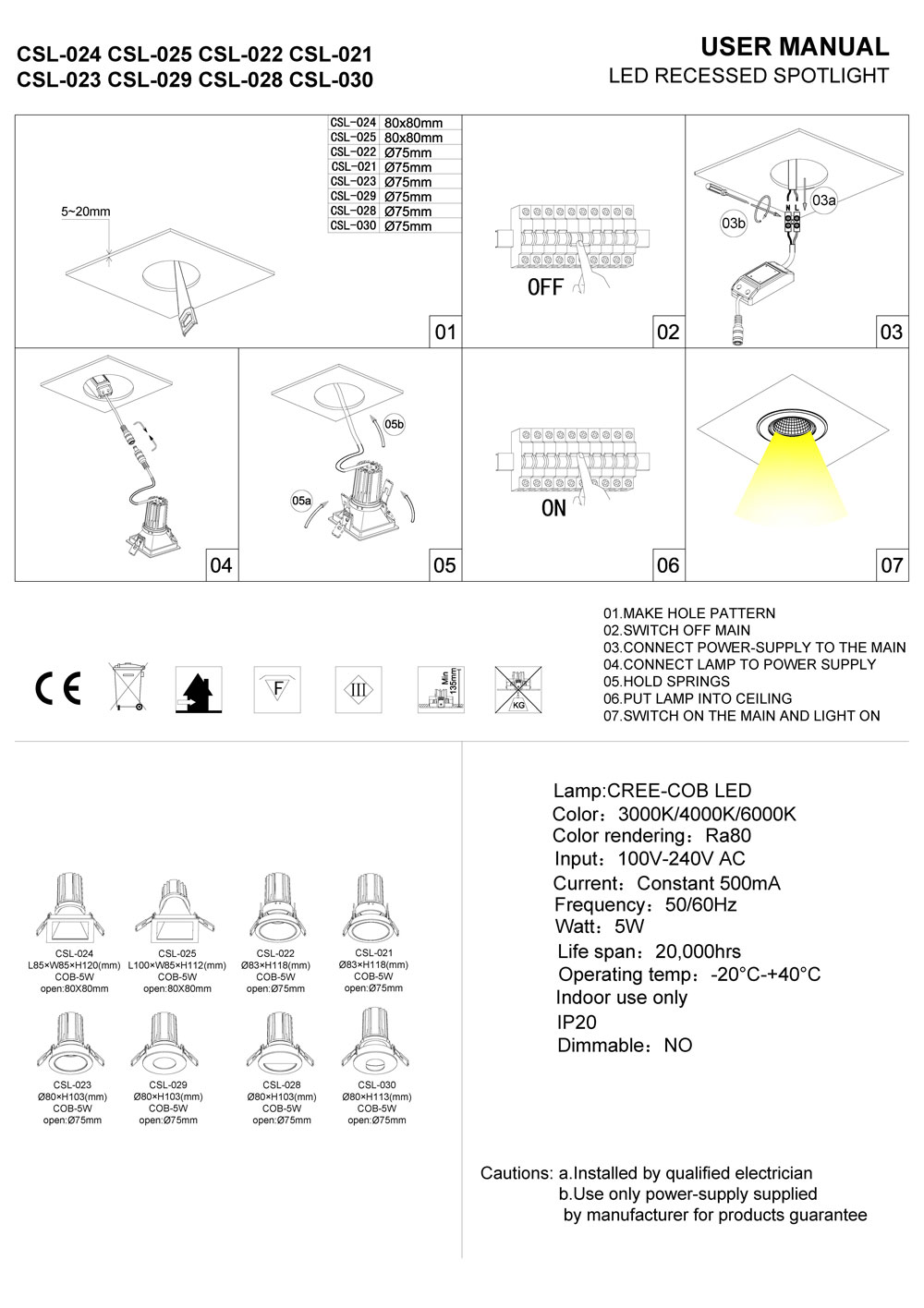 csl024 csl022 LED downlight installation guide