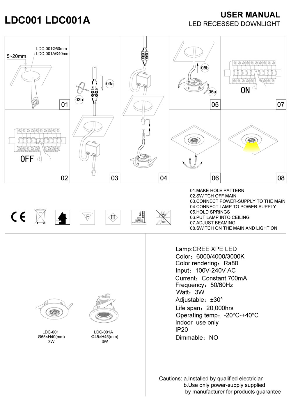 LDC001-LDC001A mini LED downlight installation guide