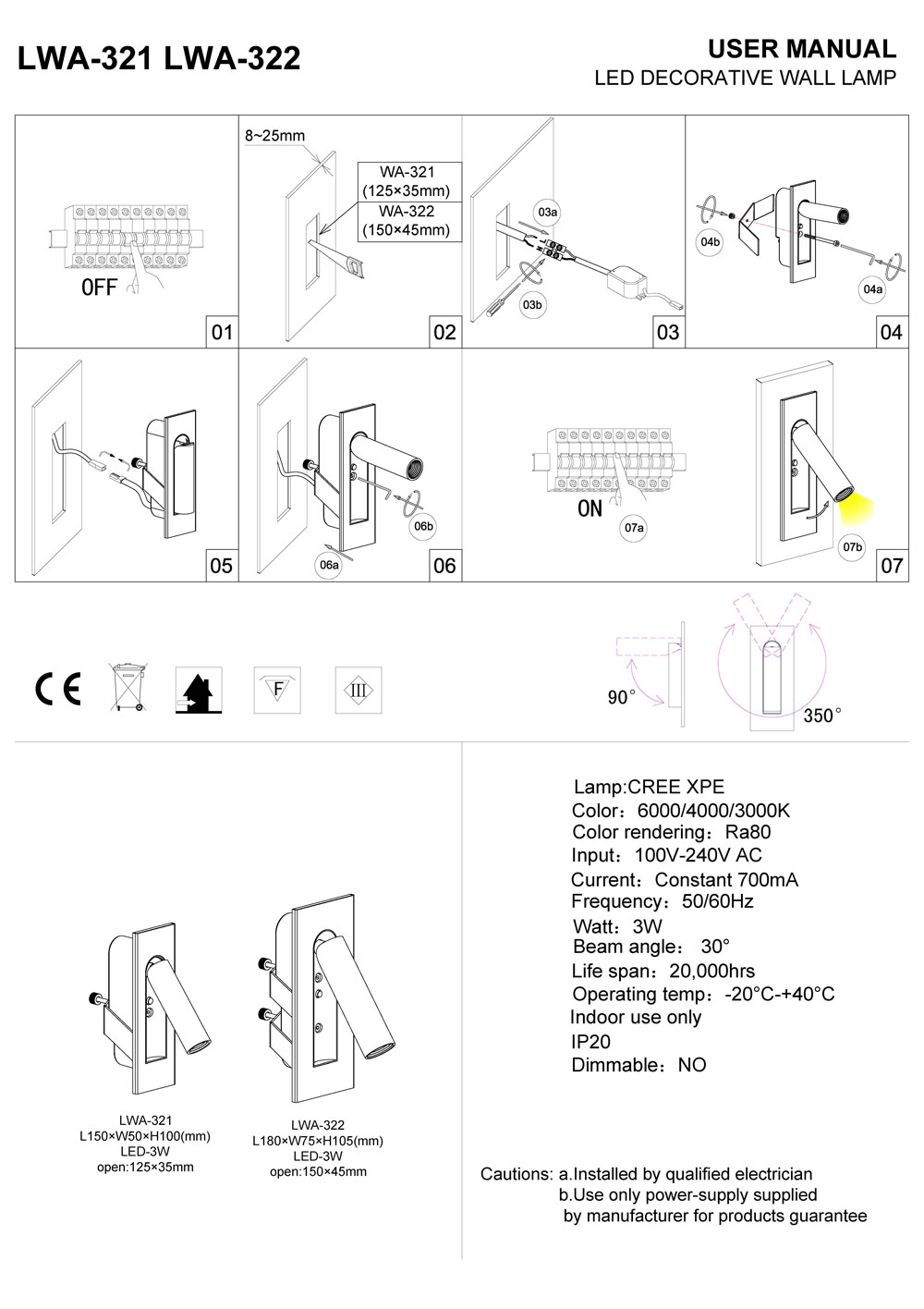 LWA322 LED reading light installation guide