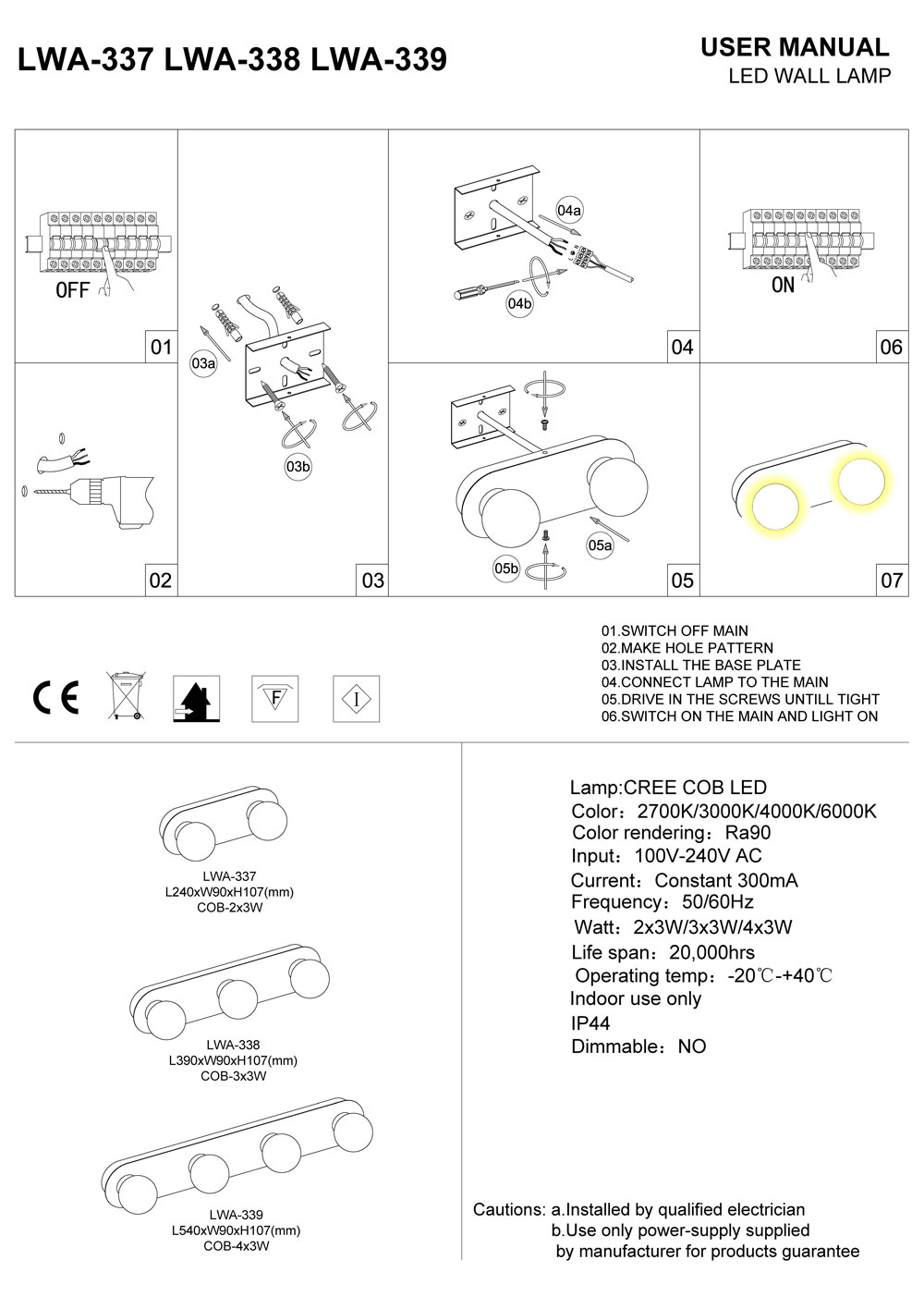 LWA-337-LWA-338-LWA-339 bathroom wall light installation guide