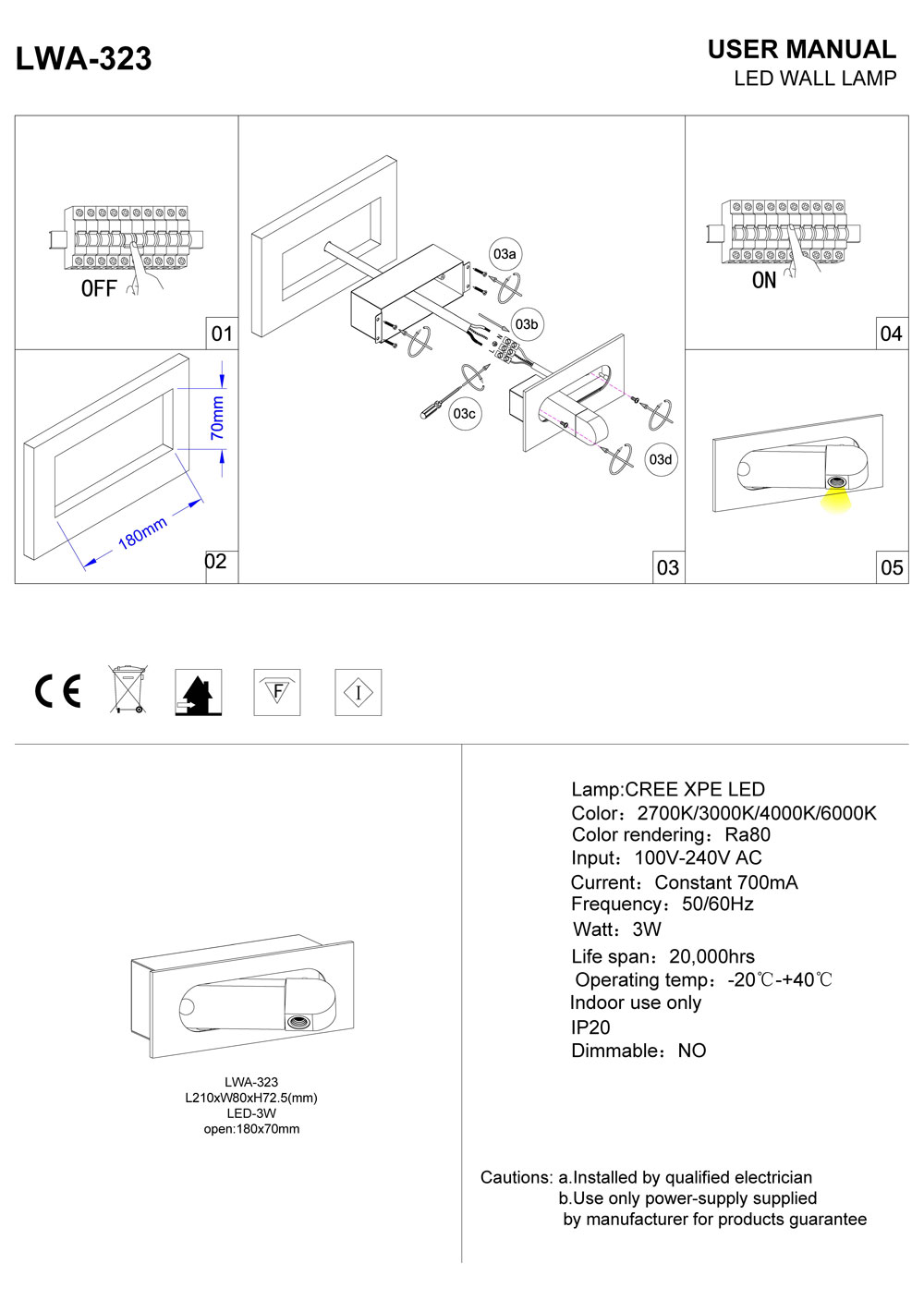 LWA-323 3 watt wall mounted recessed LED reading light installation guide