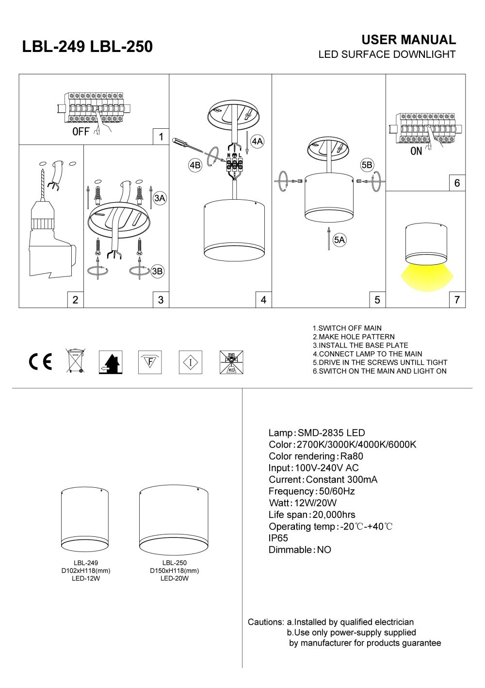 LBL-249 LBL-250 soffit light installation guide