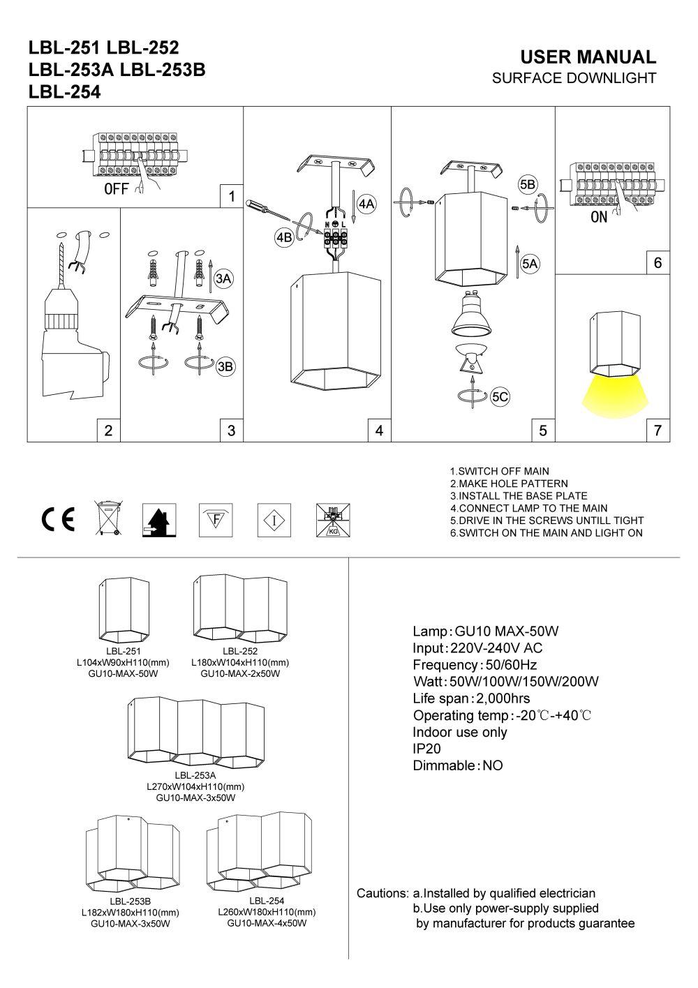 LBL-251 LBL-252 LBL-253A LBL-253B LBL-254 Hexagonr range surface mounted LED downlights