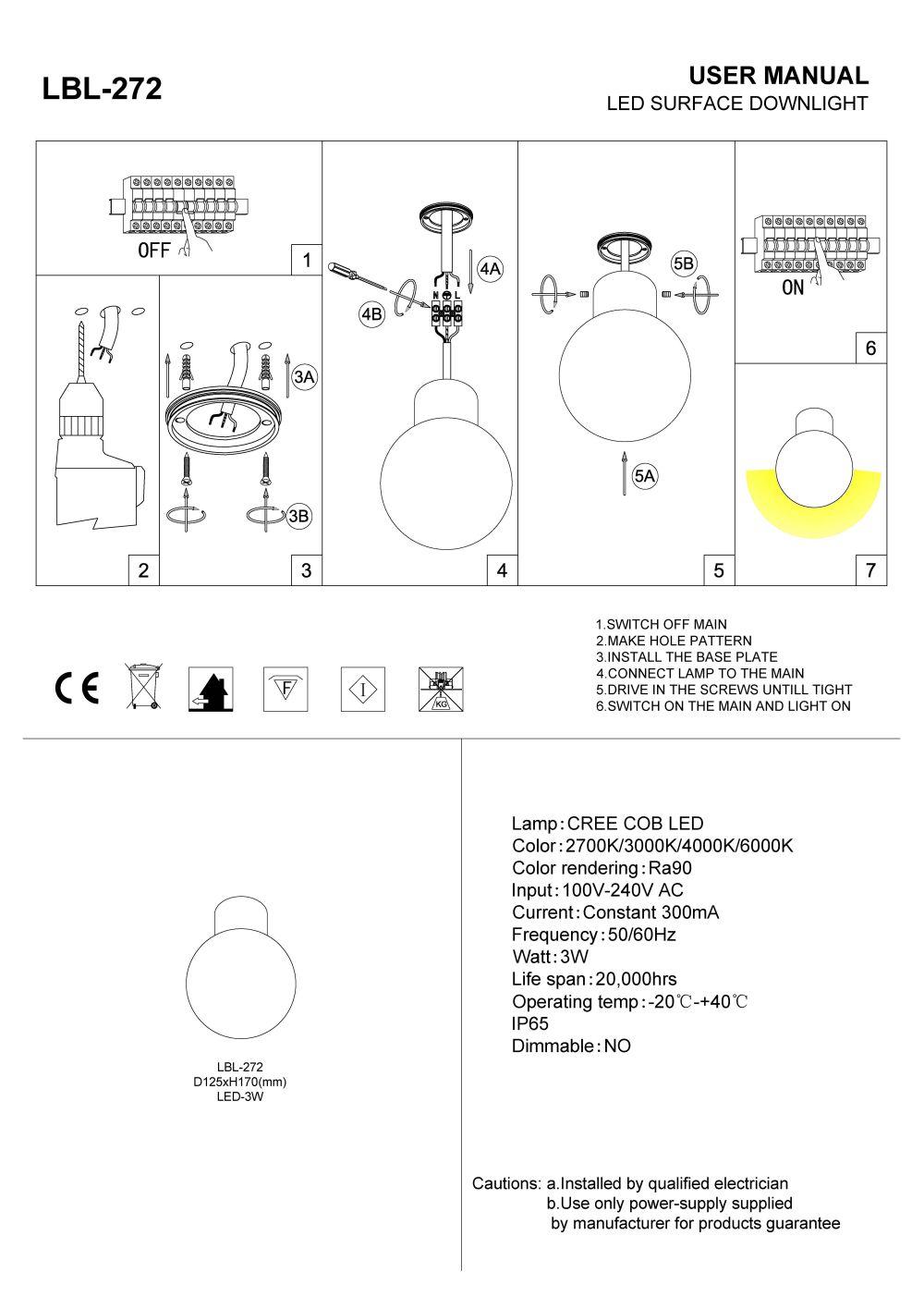 LBL-272 5 watt black globe LED porch light