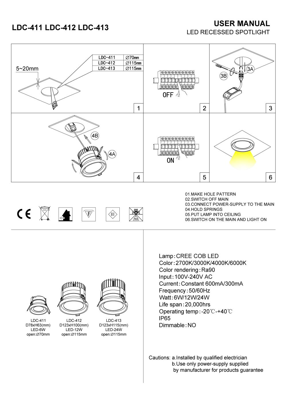 LDC-411 LDC-412 LDC-413 Black IP65 rated LED Downlight fitting install guide