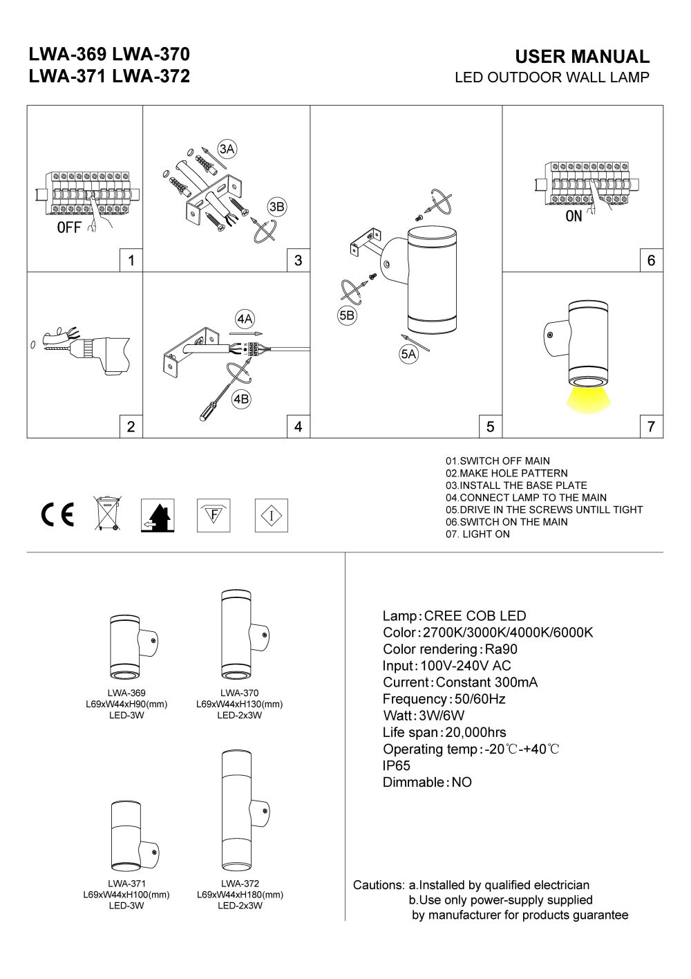 LWA-369 LWA-370 LWA-371 LWA-372 Outdoor LED wall light installation guide