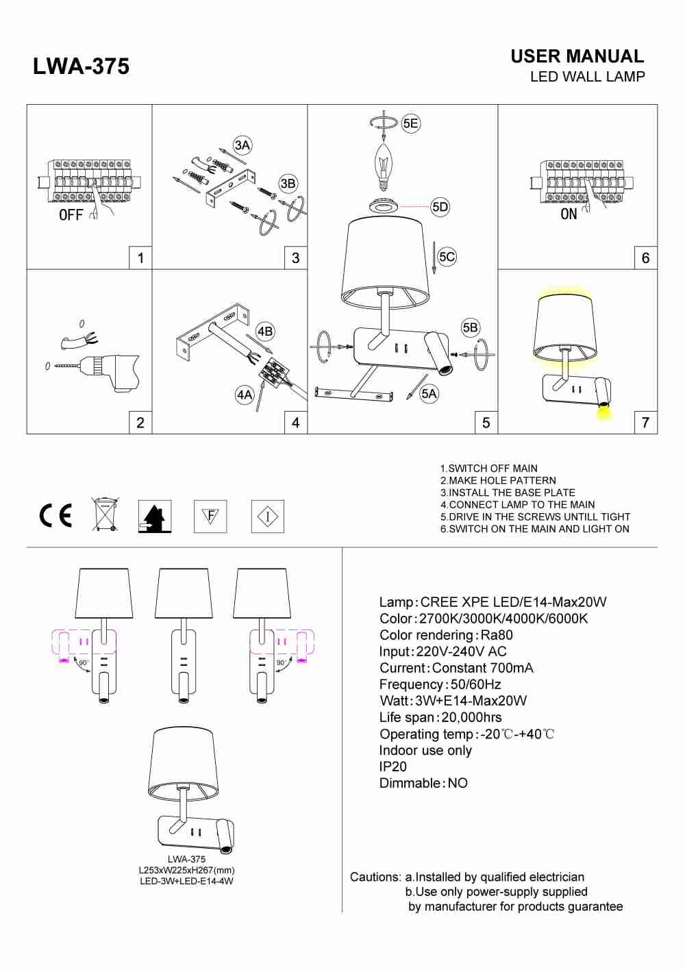 LWA-375 twin bedside LED reading light install guide