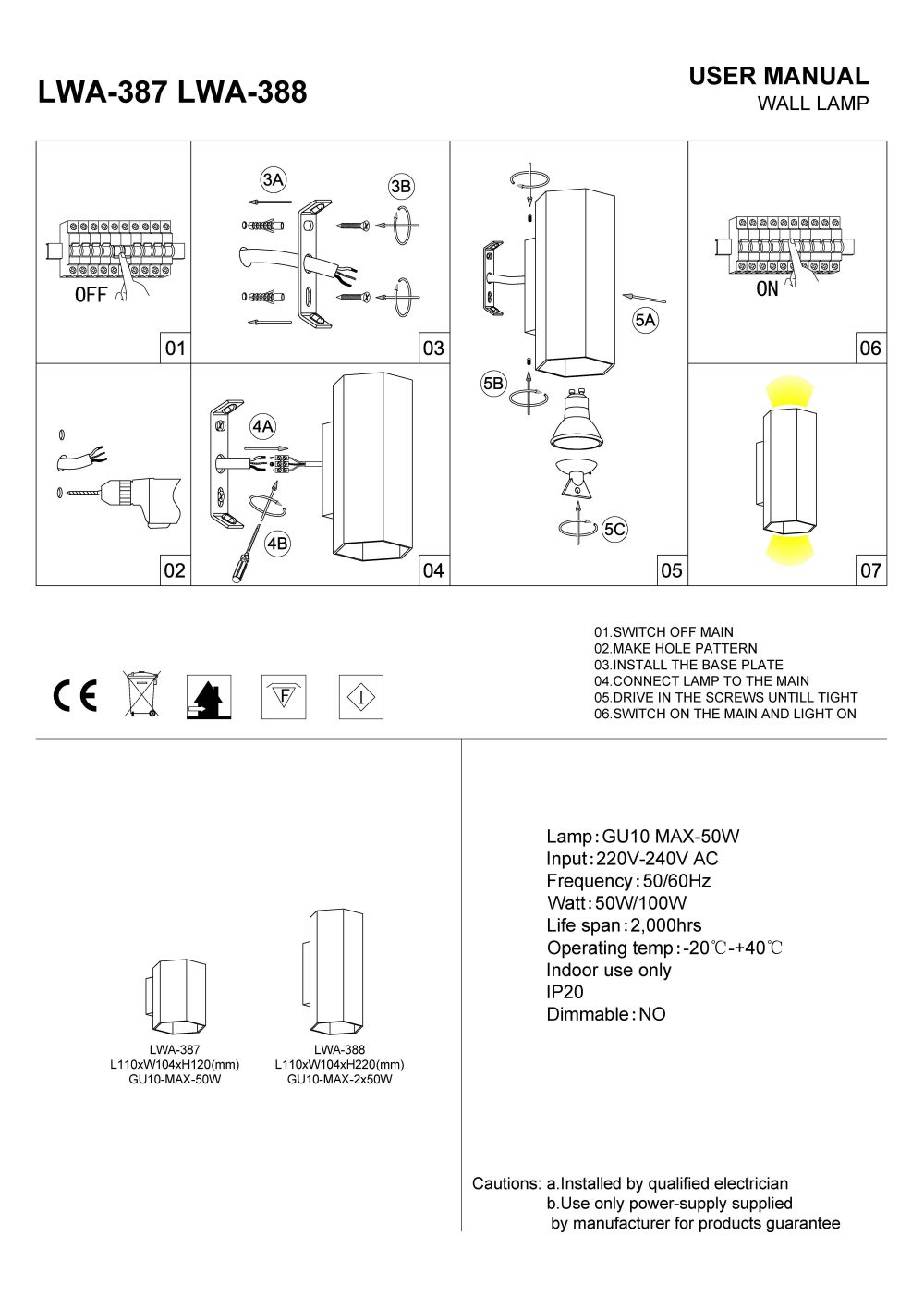 LWA-387 LWA-388 interior LED wall light installation guide