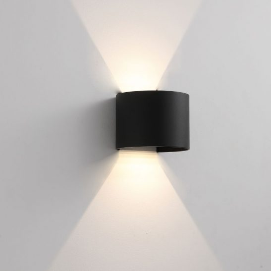 LWA288A-BK round black outdoor wall light fitting