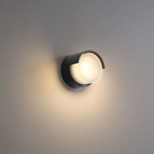 LWA382-BK round black garden LED wall light