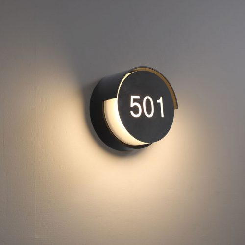 LWA384-BK black IP65 rated LED hotel room number