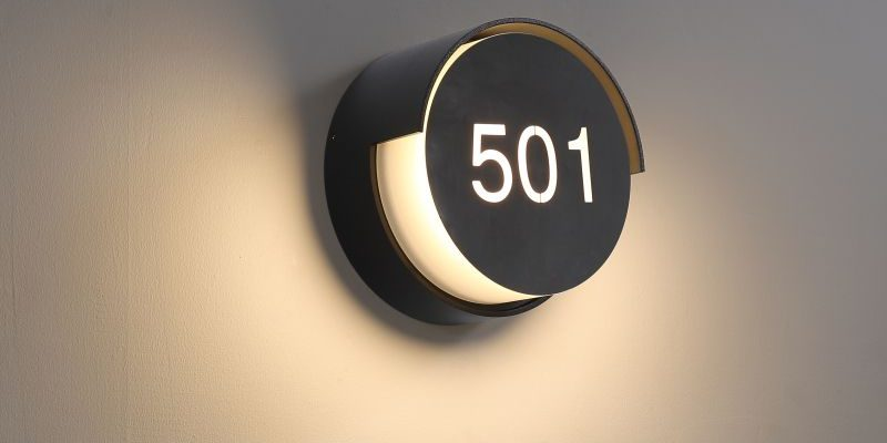 LWA384-BK black IP65 rated LED hotel room number