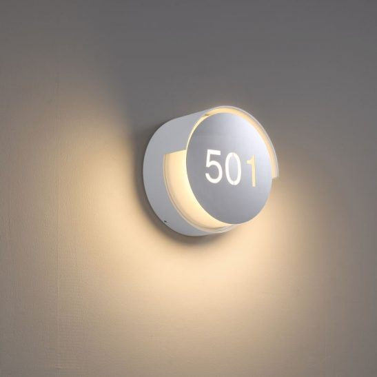 LWA384-WT round white IP65 LED hotel room number light