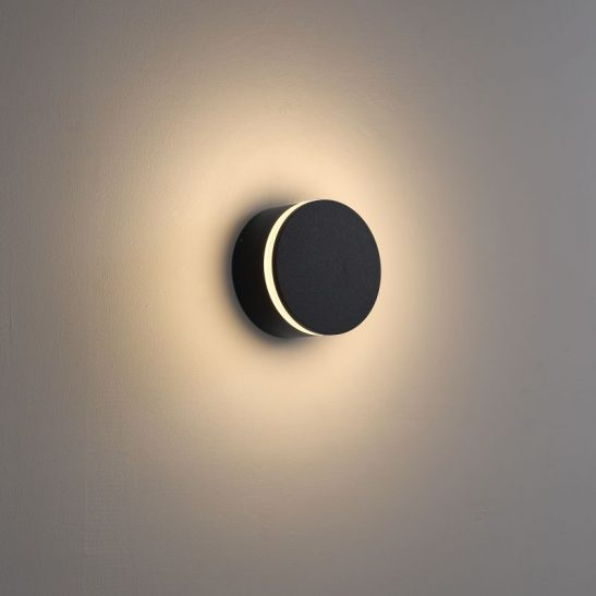 LWA385 4 watt round black outdoor LED wall light