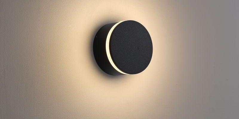 LWA385 4 watt round black outdoor LED wall light
