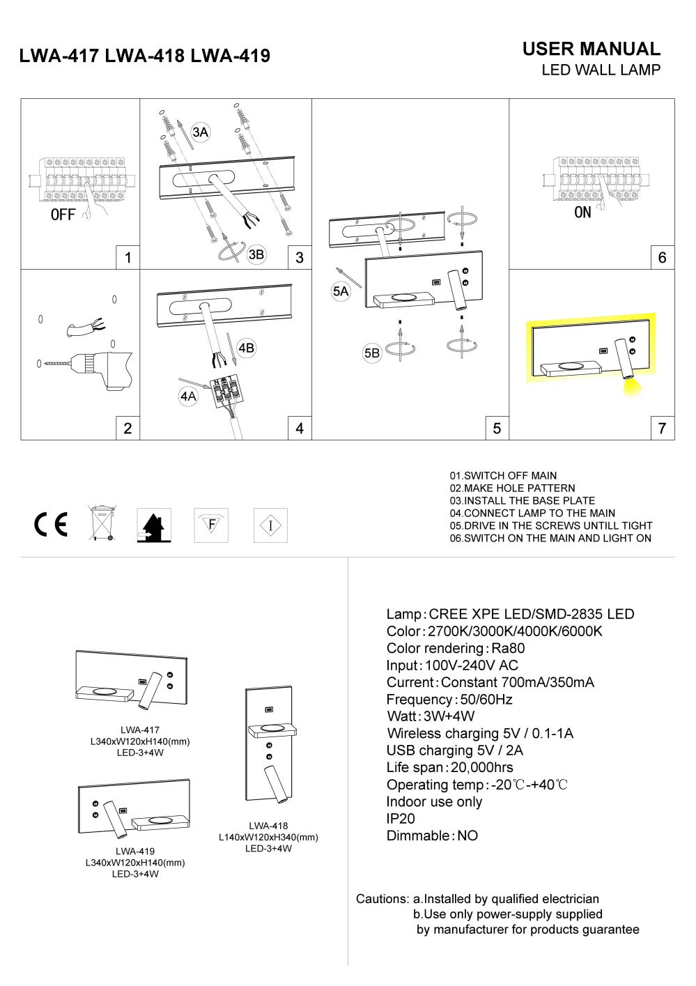 LWA-418 LED reading light installation guide
