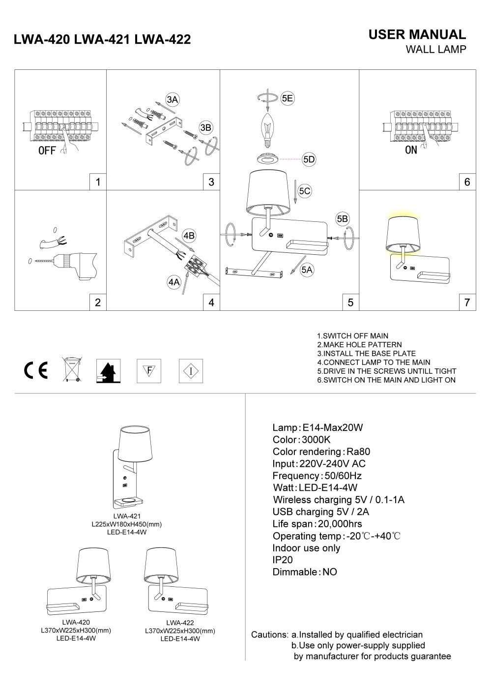 LWA-421 LED bedside wall light installation guide