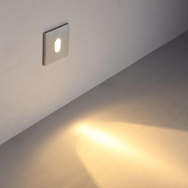 LSL011 Square 1 Watt Recessed Interior LED Wall Light