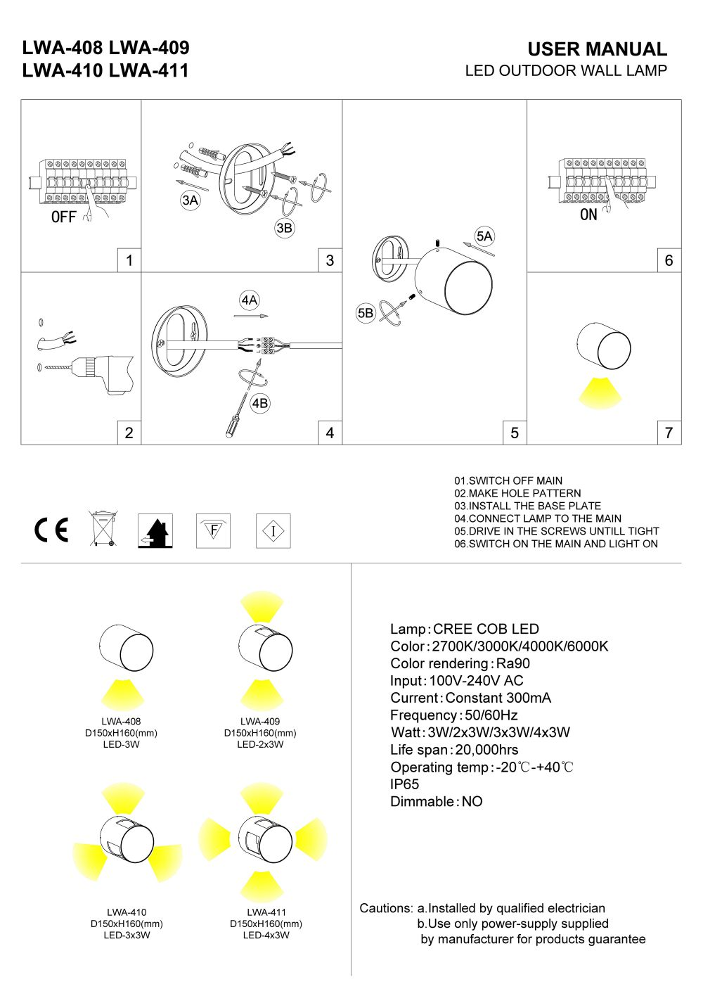 LWA-408 LWA-409 LWA-410 LWA-411 outdoor wall light installation guide