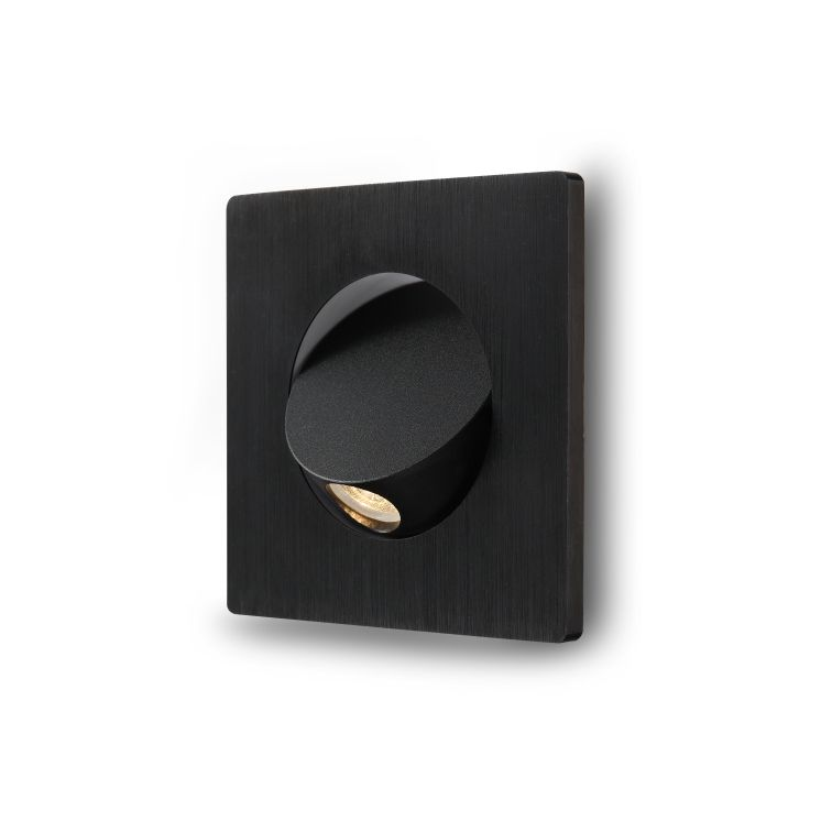 LWA220-BK 3 watt square black recessed LED reading light