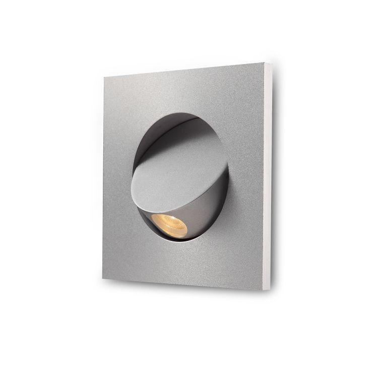 LWA220-SL 3 watt square silver recessed LED bedside reading light