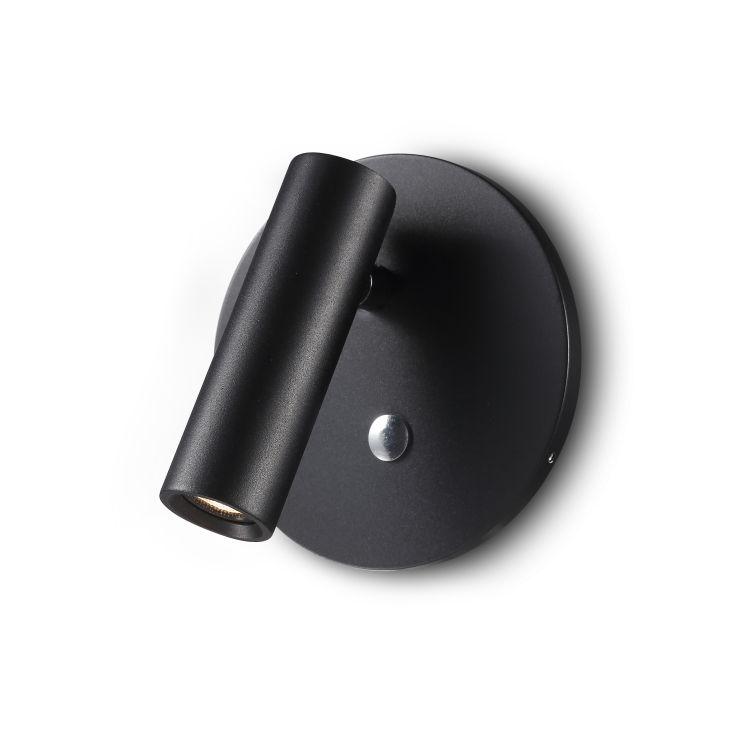 LWA260-BK 3 watt round black recessed LED bedroom reading light