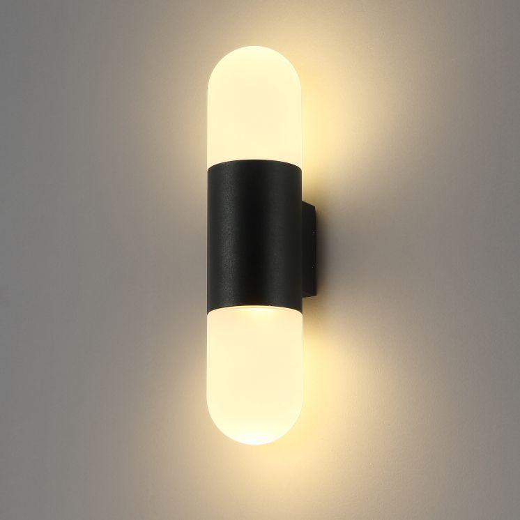 LWA292A 12 Watt Round Black Outdoor Wall Light