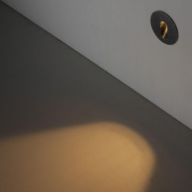 ODL042 1 Watt Round Recessed Black Outdoor LED Wall Light