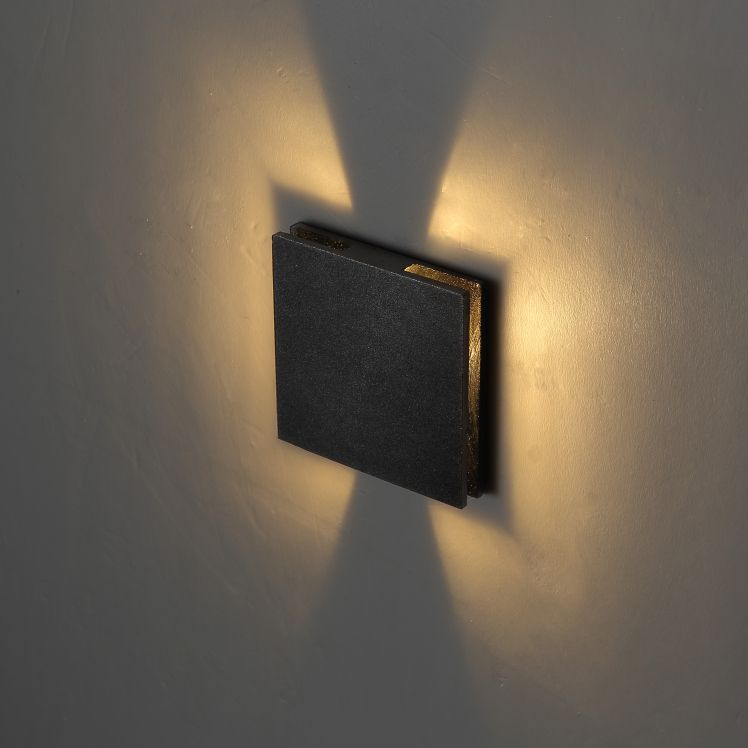 ODL043 1 Watt Square Halo Effect Recessed Black Outdoor LED Step Light